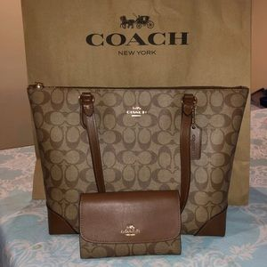 Coach medium tote and wallet